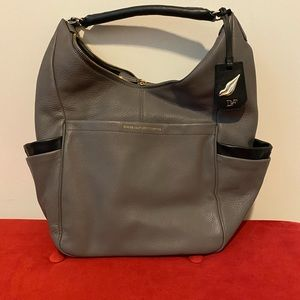 DVF leather gray hobo bag